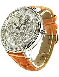 クロス【シルバー】ベゼル 文字盤【ホワイト】×ベルト【オレンジ】:1101-0111 AnneCoquine 腕時計 アンコキーヌ スワロフスキー ぐるぐる時計
