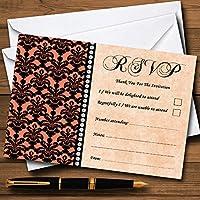 コーラルブラックダマスク&ダイヤモンドPersonalized RSVPカード 10 Cards