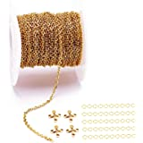 33 Feet 18K Gold Stainless Steel Flat Cross Link Chains Spool Bulk with 20 Lobster Clasps and 50 Jump Rings for Pendant Neckl