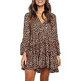 MITILLY Women's Ruffle Long Sleeve V-Neck Leopard Flowy Loose T Shirt Tunic Dress