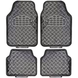 BDK Universal Fit 4-Piece Set Metallic Design Car Floor Mat - Heavy Duty All Weather with Rubber Backing (Carbon)