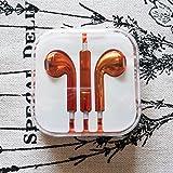 【Smart-KM】iphone5/6/6sイヤホン マイク付き 電気めっき 11色 (オレンジ)