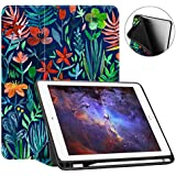 Fintie iPad 9.7 2018 (6th Gen) Case with Built-in Apple Pencil Holder - [SlimShell] Lightweight Soft TPU Back Protective Stand Cover with Auto Wake / Sleep for Apple iPad 9.7 inch Tablet (2018 Release), Jungle Night