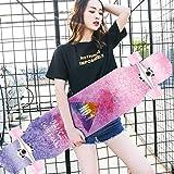 """DUWEN スケートボードロングボード9つのレイヤーメープルデッキダブルキック凹面42"""" スケートボードアダルトトリックスケートボードの男の子と女の子のダンス会四輪スクーター"""