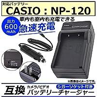 AP カメラ/ビデオ 互換 バッテリーチャージャー シガーソケット付き カシオ NP-120 急速充電 AP-UJ0046-CS120-SG