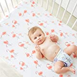 Little Jump Flamingo Crib Sheet - Jersey Cotton Crib Mattress for Toddler Bed, Baby Sheets for Crib Toddler Bed Sheets Girl C