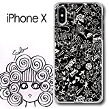 iPhone X スカラー ScoLar モノクロ ファンキーポップ柄 犬 蝶 花 花柄 ハードケース クリア_013