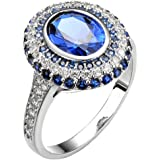 White Gold Plated Oval Shaped Gem Style Ring with Sapphire Blue Swarovski Element Crystal and Cubic Zirconia Fashion Jewelry