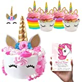 (52 Pack) La La Unicorn Cake and Cupcake Topper Set Birthday Party Decorations - Gold Unicorn Horn Cake Topper with Eyelashes
