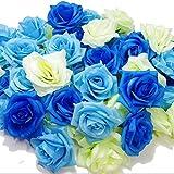 Amazon.co.jp【glaystore】 バラ 造花 ローズ 薔薇 アレンジ 8センチ 50個セット 結婚式 2次会 パーティー ブライダルイベントに (ブルー×ライトブルー×ホワイト)