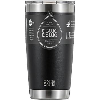 タンブラー 560ml 真空 断熱 保温 水筒 ボトル ステンレス フタ付き 学生 女性 男性 ブラック bottlebottle
