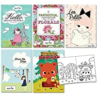 Hello World, Fantastical Florals, Les Petites, Dress Up, and Woodland Adventure Colouring Books