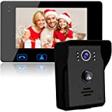 """Video Door Phone Doorbell Wires Video Intercom Monitor 7"""" Wired Door Bell Home Security System with Night Vision and Push But"""