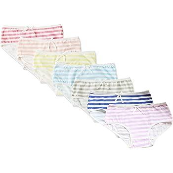 (マソンナーニ)Masonanicレディースショーツ 綿 しましま パンツ ボーダーパンツ コスチューム用小物 下着 学生 パンティ 少女 7枚セット (7枚セット, フリーサイズ)