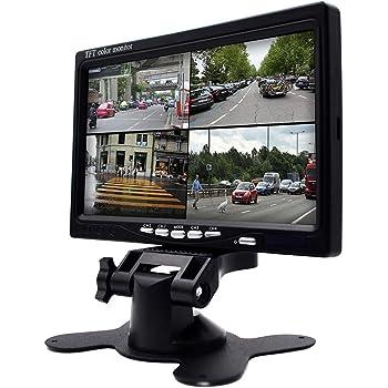 Camecho オンダッシュモニター 7インチ 液晶モニター 4分割画面同時表示 DVD/ VCR /トレーラー/トラック/自動車/CCTVシステム・家庭防犯監視スクリーン対応 バック機能付き 12V/24V対応