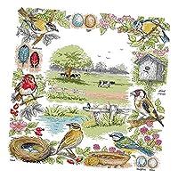 P Prettyia 刺しゅうキット 鳥柄 クロスステッチキット 刺繍キット コットン 手工芸品 家の装飾 全2サイズ - 11CT 61x74cm