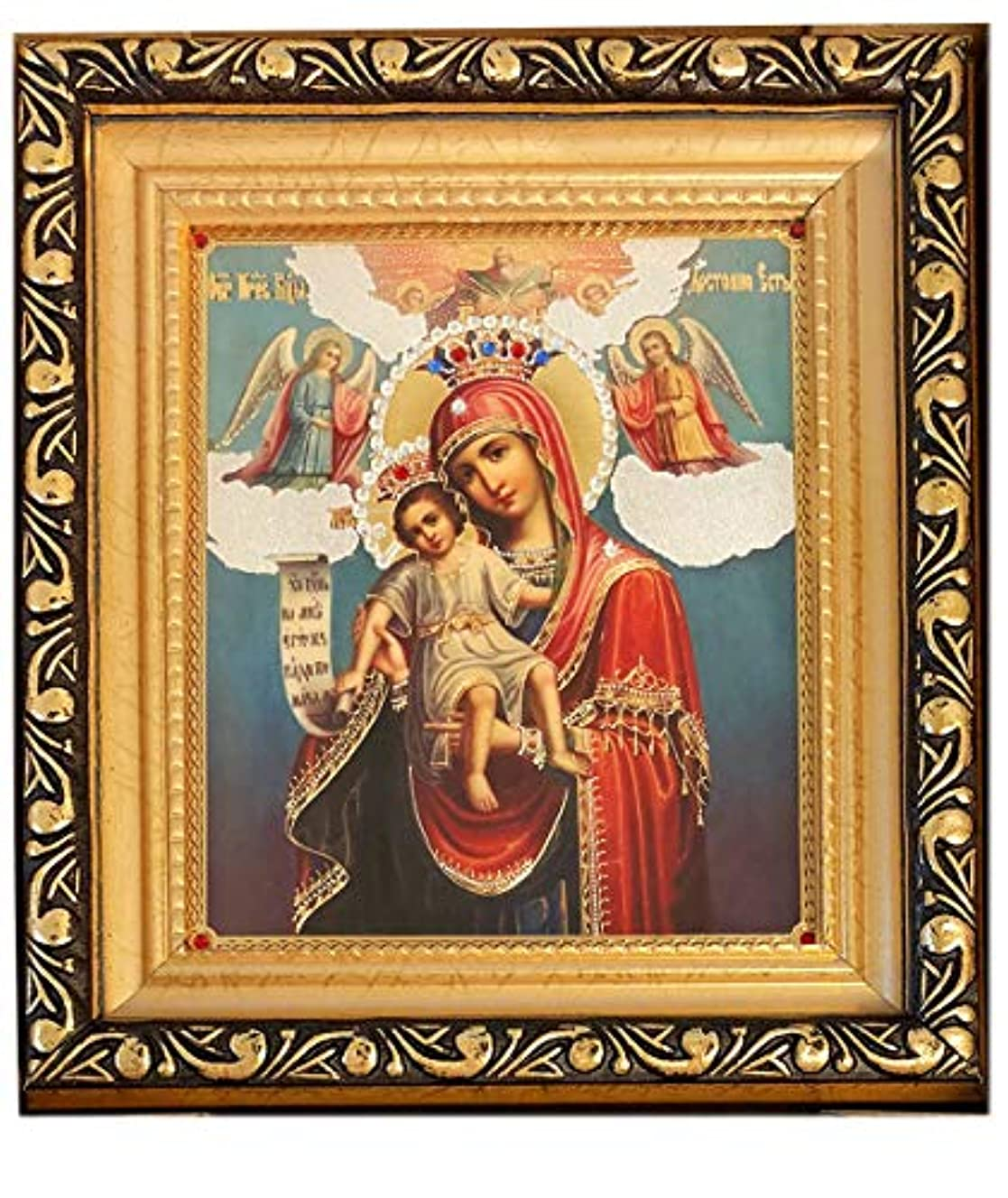 見える西司書アレクサンドラ?Int ' l GreekセラミックアイコンCandle Holder with Saints Decorated with 24 Kゴールド5インチ、レッド