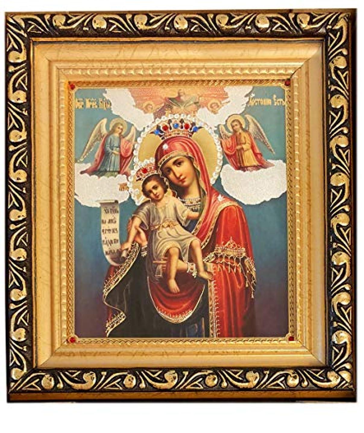 摘む宇宙候補者アレクサンドラ?Int ' l GreekセラミックアイコンCandle Holder with Saints Decorated with 24 Kゴールド5インチ、レッド