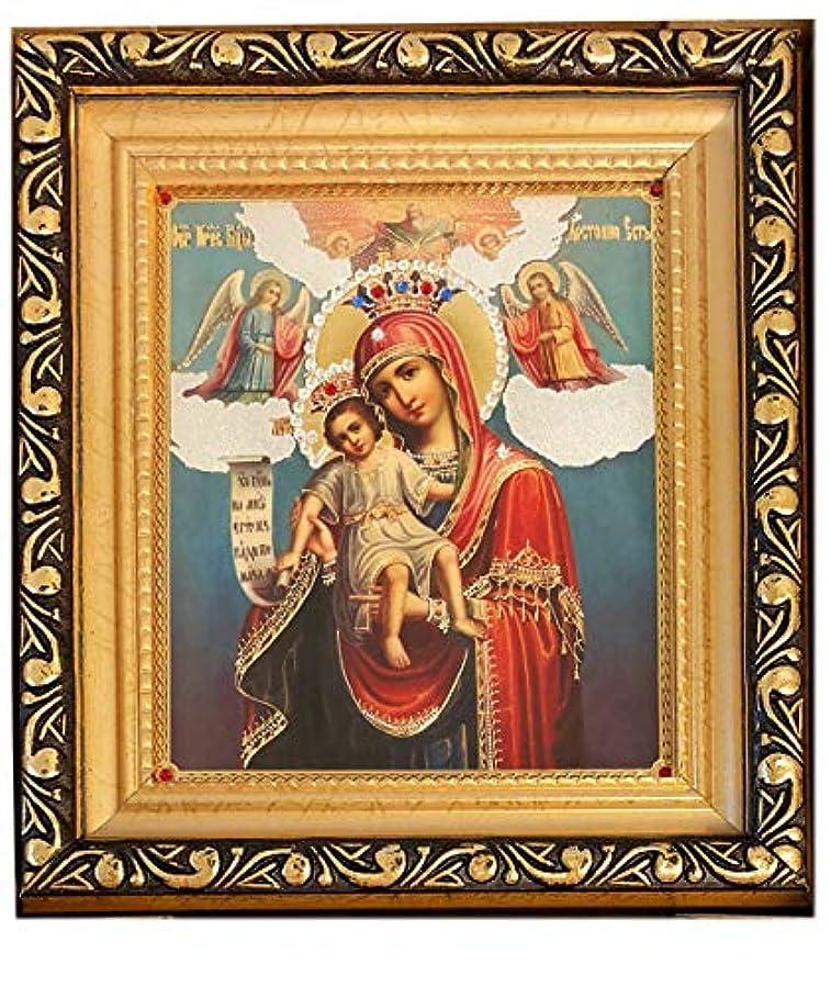 先例ポール歩き回るアレクサンドラ?Int ' l GreekセラミックアイコンCandle Holder with Saints Decorated with 24 Kゴールド5インチ、レッド