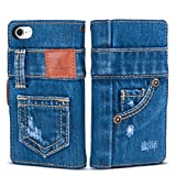 「UK Trident」本格デニム iPhone8 / iPhone7 兼用 手帳型アイフォンケース