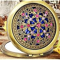 HuaQingPiJu-JP ミニラウンドロマンチックな星空のスカイパターン小さなガラスミラーサークルクラフト装飾化粧品アクセサリー