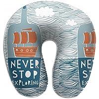 Merlin Quintina 海 ボート船 絵 愛して 抱き枕 U字型クッション 首枕 ネッククッション 旅行ピロー360度快適な睡眠 子宮頸椎 保護 ポータブル