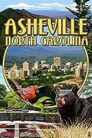 Asheville、ノースカロライナ州–モンタージュシーン 9 x 12 Art Print LANT-40817-9x12