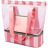 Women Beach Bag Mesh– Pool Tote Bag with Insulated Cooler Section   Shoulder Bag for Women Detachable Picnic Bag and Solid Zi