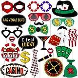 LUOEM ラスベガス カジノ フォトブース小道具 - カジノテーマ パーティー装飾 木製スティック付き ラスベガスパーティーデコレーション 24個パック