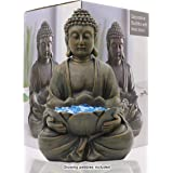 """LIMEIDE Meditating Buddha Statue Figurine Sitting Sculpture Decoration 12"""" Marble Finish with Lotus and Magical Glow in The D"""