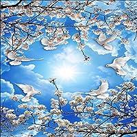 Lixiaoer 花の壁紙青空白い雲桜天井壁画写真壁壁画壁紙3D-250X175Cm