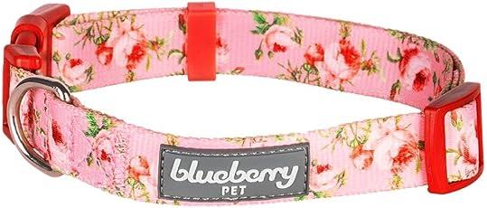 Blueberry Pet ローズ柄首輪 ピンク1.5cm (小型犬)