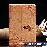 iPad mini レトロ 地図柄 PUレザー スタンド ケース ライトブラウン(うす茶色) [MOBILE STUDIO]