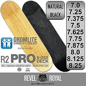 REVEL ROYAL スケートボード スケボー プロ ブランク デッキ 木目 無地 7.0 7.25 7.375 7.5 7.625 7.75 7.875 8.0 8.125 8.25インチ ナチュラル ブラック 100% カナディアン ハードロック メイプル + エポキシ樹脂グルー キッズ 子供用 サイズ有り
