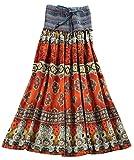 Lecpra (レクプラ) エキゾチック ボヘミアン ロング スカート 2WAY ワンピース レディース 紫 黄 橙 青 赤 (フリーサイズ) マキシ (オレンジ)