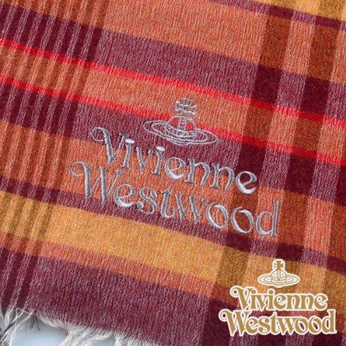 (ヴィヴィアン・ウエストウッド) Vivienne Westwood s42-f933-0001 オーブロゴ入りマフラーS42-F933-0001 オレンジ 正規品
