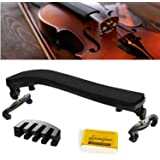 Branger Violin Shoulder Rest for 4/4-3/4 Size, with Collapsible and Height Adjustable Feet, Including a Violin Practice Mute