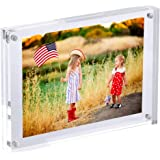 Clear Acrylic 6x8 Magnetic Picture Frames, Love Double Sided Magnetic Photo Frames, Home Office Table Plexiglass Picture Disp