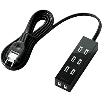 【2010年モデル】ELECOM 電源タップ ホコリ防止シャッター付 flecc barra 4口 2m ブラック T-FLC01-2420BK
