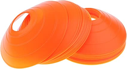 Perfk サッカー用 ミニディスク 境界マーカー スポーツ用具 トレーニング 訓練援助 コーン形 約25枚 全6色選べ