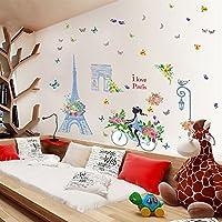 3D壁紙青い塔の女の子のステッカーの寝室のリビングルームの壁の装飾