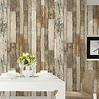 HaokHome 605 ビンテージ木目ウッドパネル壁紙ロールタン/ベージュ/ブラウン木製プランク壁画ホームキッチンバスルーム装飾 53cmx10m