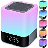 Night Lights Bluetooth Speaker, Alarm Clock Bluetooth Speaker Touch Sensor Bedside Lamp Dimmable Multi-Color Changing Bedside