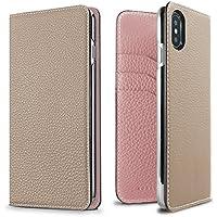 BONAVENTURA ボナベンチュラ iPhone X ケース German Leather Diary Case [iPhone X | グレージュ×サクラ]