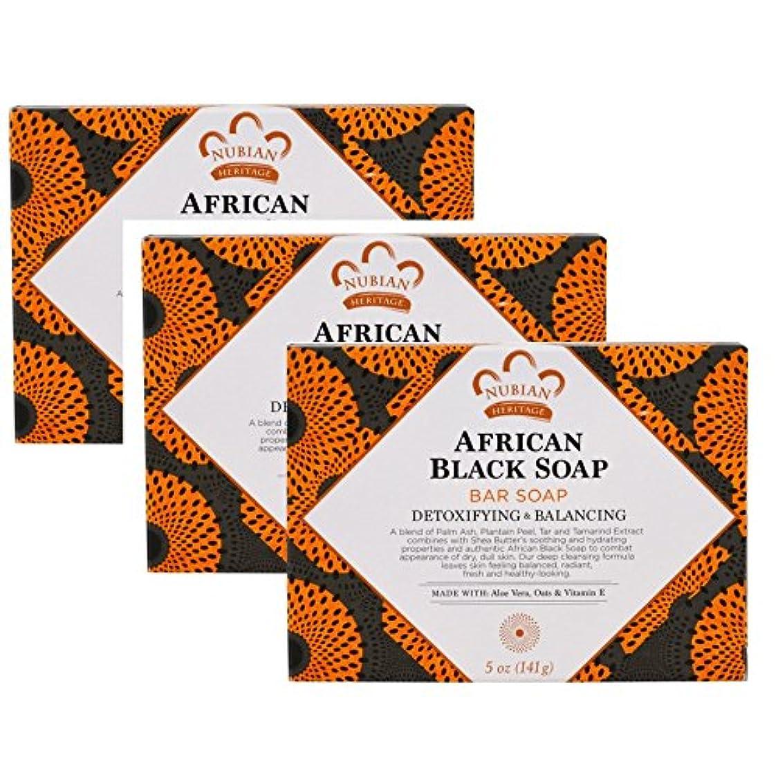 視力アレイ電池【海外直送品】【3個セット】Nubian Heritage, ヌビアンヘリテージ アフリカンブラックソープバー、5 oz (141 g)