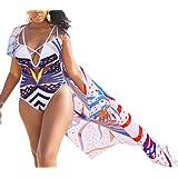 Women's Summer 2 Piece Print Bikini One Piece Swimsuit+Ponchos Cover Ups