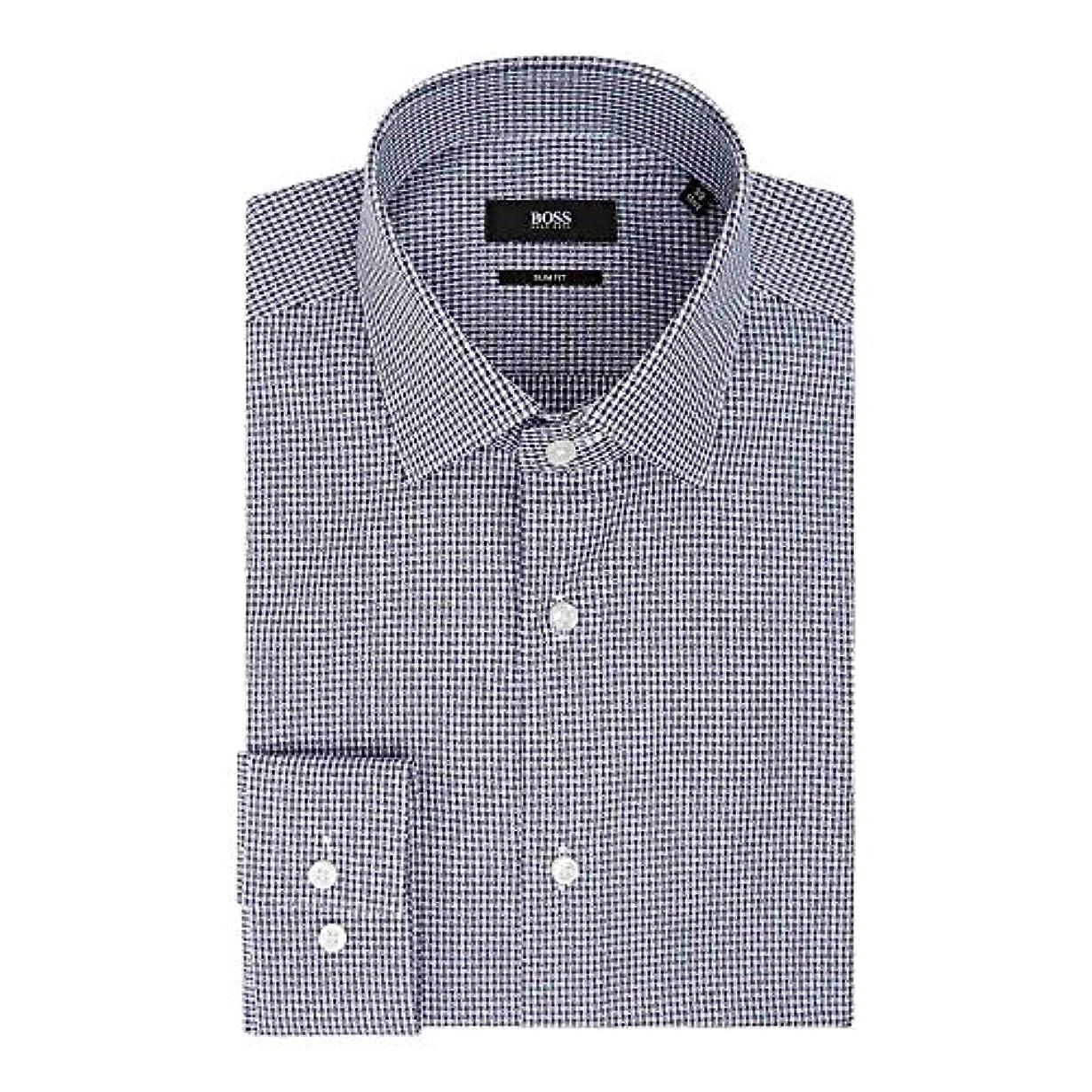 三衣装表示(ヒューゴ ボス) Hugo Boss メンズ トップス シャツ Ismo Slim Fit Geo Grid Texture Shirt [並行輸入品]