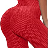 Forever Styles Co. Butt Lifting Leggings for Women High Waisted Textured Yoga Pants Tummy Control (Bright Red Leggings, S/M)