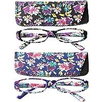 SOOLALA 4-Pair Fashionable Spring Hinge Rectangular Reading Glasses w/Matching Pouch