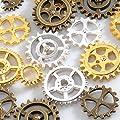 歯車パーツMIX 【3色ミニセット 15個入り】アンティークゴールド シルバー ゴールド レジン チャーム 素材 材料 パウダートレーディング